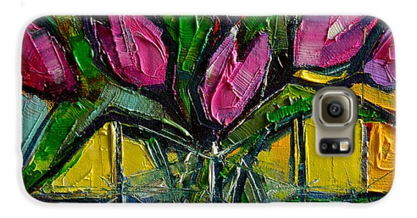 Floral Miniature - Abstract 0615 - Pink Tulips Galaxy S6 Case by Mona Edulesco