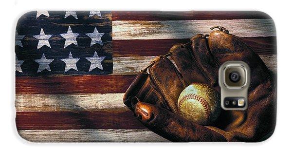 Folk Art American Flag And Baseball Mitt Galaxy S6 Case by Garry Gay