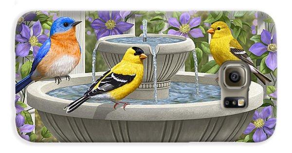 Fountain Festivities - Birds And Birdbath Painting Galaxy S6 Case by Crista Forest