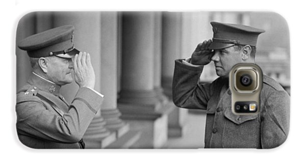 General John Pershing Saluting Babe Ruth Galaxy S6 Case by War Is Hell Store