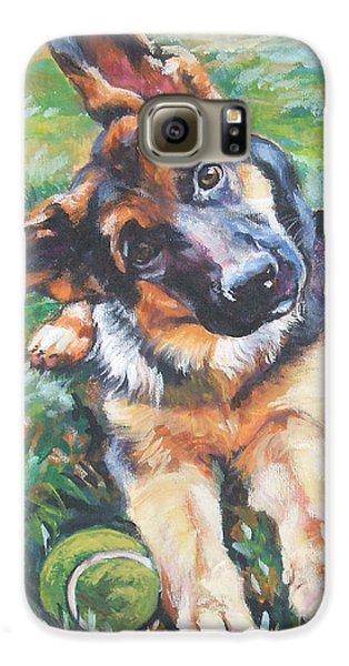 German Shepherd Pup With Ball Galaxy S6 Case by Lee Ann Shepard