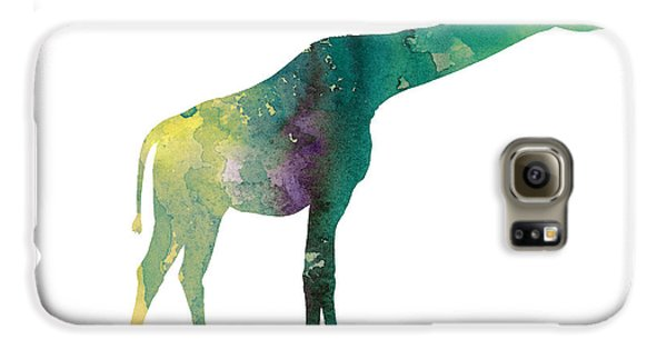 Giraffe Colorful Watercolor Painting Galaxy S6 Case by Joanna Szmerdt