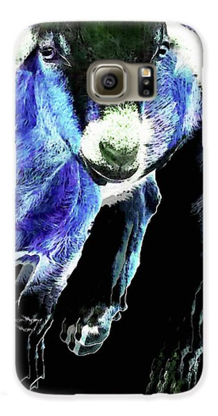 Goat Pop Art - Blue - Sharon Cummings Galaxy S6 Case by Sharon Cummings