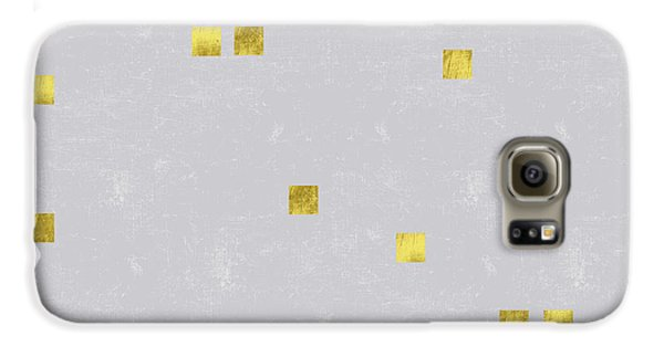 Gold Scattered Square Confetti Pattern On Grey Linen Texture Galaxy S6 Case by Tina Lavoie