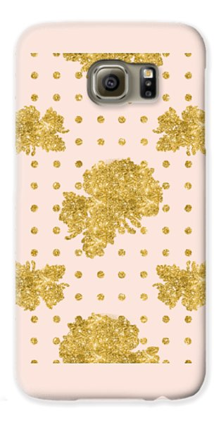 Golden Gold Blush Pink Floral Rose Cluster W Dot Bedding Home Decor Galaxy S6 Case by Audrey Jeanne Roberts