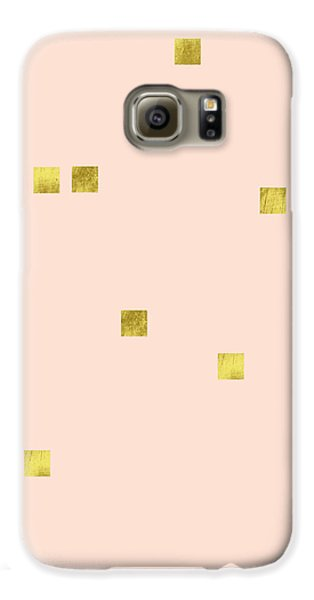 Golden Scattered Confetti Pattern, Baby Pink Background Galaxy S6 Case by Tina Lavoie