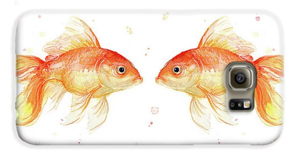 Goldfish Love Watercolor Galaxy S6 Case by Olga Shvartsur