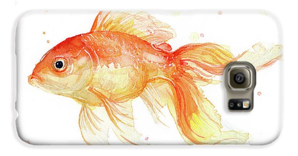Goldfish Painting Watercolor Galaxy S6 Case by Olga Shvartsur