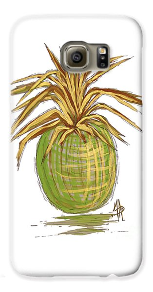 Green Gold Pineapple Painting Illustration Aroon Melane 2015 Collection By Madart Galaxy S6 Case by Megan Duncanson