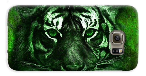 Green Tiger Galaxy S6 Case by Michael Cleere