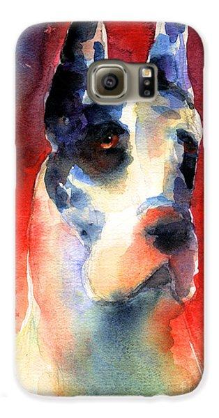 Harlequin Great Dane Watercolor Painting Galaxy S6 Case by Svetlana Novikova