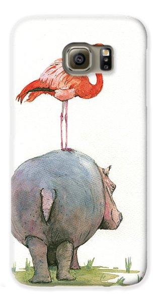 Hippo With Flamingo Galaxy S6 Case by Juan Bosco