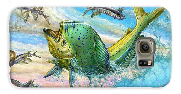 Jumping Mahi Mahi And Flyingfish Galaxy S6 Case by Terry Fox