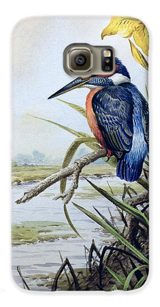Kingfisher With Flag Iris And Windmill Galaxy S6 Case by Carl Donner