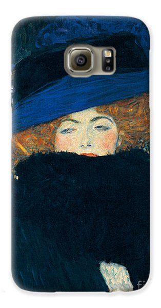 Lady With A Hat And A Feather Boa Galaxy S6 Case by Gustav Klimt