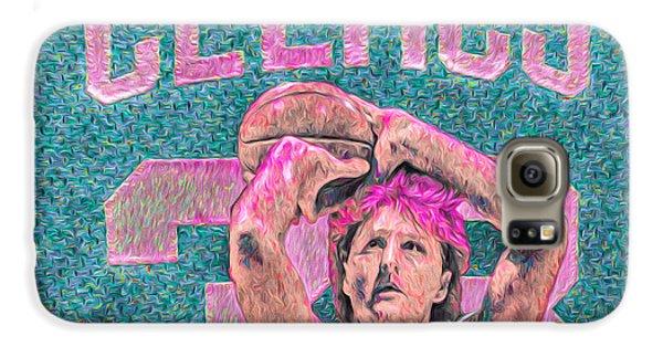 Larry Bird Boston Celtics Digital Painting Pink Galaxy S6 Case by David Haskett