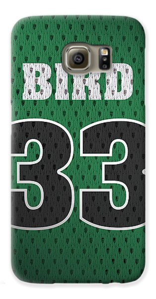Larry Bird Boston Celtics Retro Vintage Jersey Closeup Graphic Design Galaxy S6 Case by Design Turnpike
