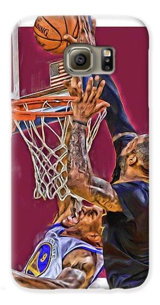 Lebron James Cleveland Cavaliers Oil Art Galaxy S6 Case by Joe Hamilton
