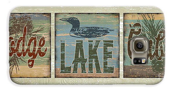 Lodge Lake Cabin Sign Galaxy S6 Case by Joe Low