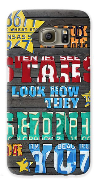 Look At The Stars Coldplay Yellow Inspired Typography Made Using Vintage Recycled License Plates Galaxy S6 Case by Design Turnpike