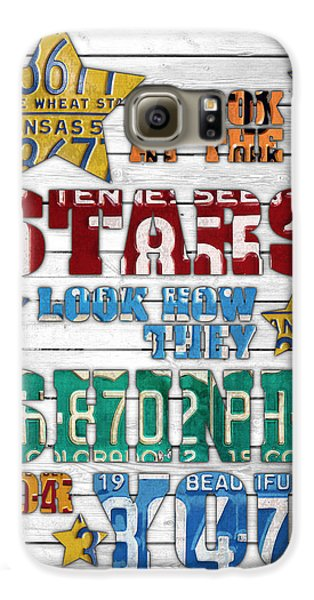 Look At The Stars Coldplay Yellow Inspired Typography Made Using Vintage Recycled License Plates V2 Galaxy S6 Case by Design Turnpike