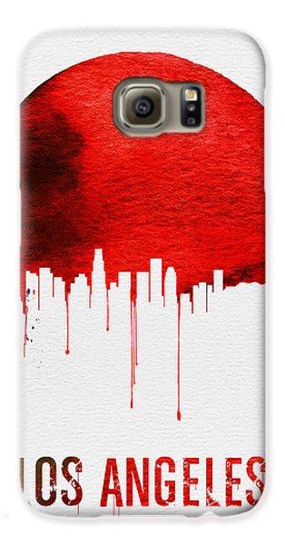 Los Angeles Skyline Red Galaxy S6 Case by Naxart Studio