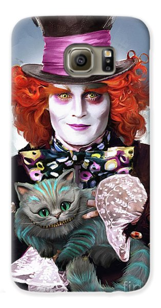 Mad Hatter And Cheshire Cat Galaxy S6 Case by Melanie D