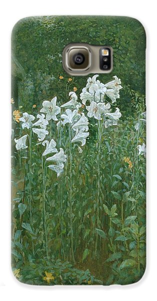 Madonna Lilies In A Garden Galaxy S6 Case by Walter Crane