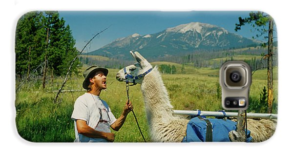 Man Teasing A Llama Galaxy S6 Case by Jerry Voss
