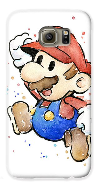 Mario Watercolor Fan Art Galaxy S6 Case by Olga Shvartsur