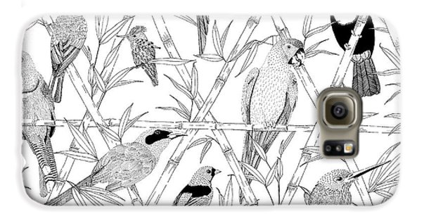 Menagerie Black And White Galaxy S6 Case by Jacqueline Colley