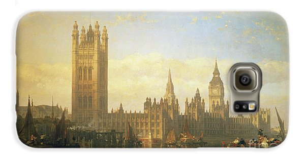 New Palace Of Westminster From The River Thames Galaxy S6 Case by David Roberts