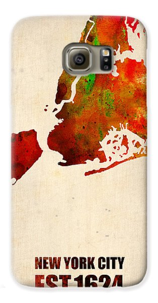 New York City Watercolor Map 2 Galaxy S6 Case by Naxart Studio