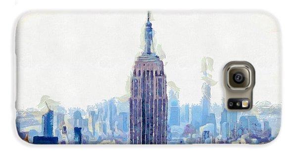 New York Skyline Art- Mixed Media Painting Galaxy S6 Case by Wall Art Prints
