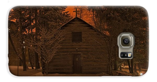 Notre Dame Log Chapel Winter Night Galaxy S6 Case by John Stephens