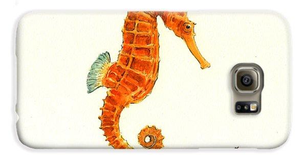 Orange Seahorse Galaxy S6 Case by Juan Bosco