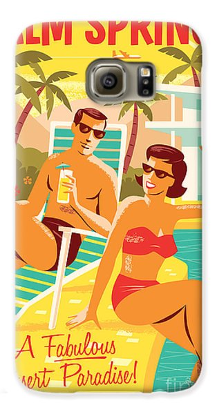 Palm Springs Retro Travel Poster Galaxy S6 Case by Jim Zahniser