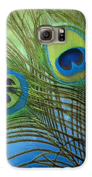 Peacock Candy Blue And Green Galaxy S6 Case by Mindy Sommers