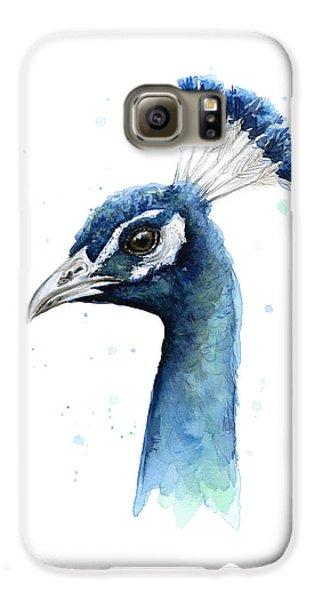 Peacock Watercolor Galaxy S6 Case by Olga Shvartsur