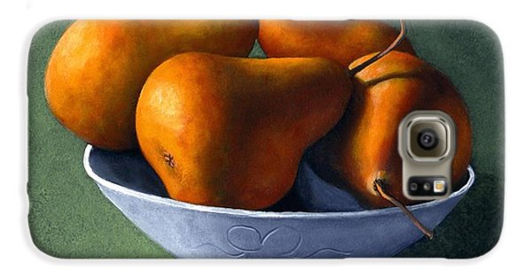 Pears In Blue Bowl Galaxy S6 Case by Frank Wilson