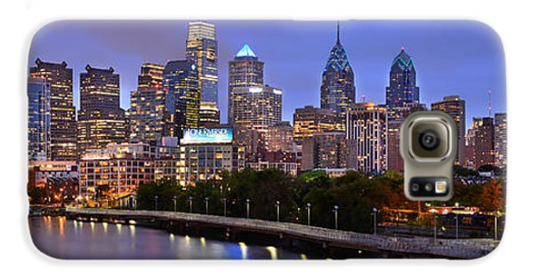 Philadelphia Philly Skyline At Dusk From Near South Color Panorama Galaxy S6 Case by Jon Holiday