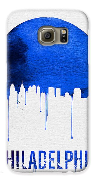 Philadelphia Skyline Blue Galaxy S6 Case by Naxart Studio