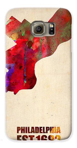 Philadelphia Watercolor Map Galaxy S6 Case by Naxart Studio