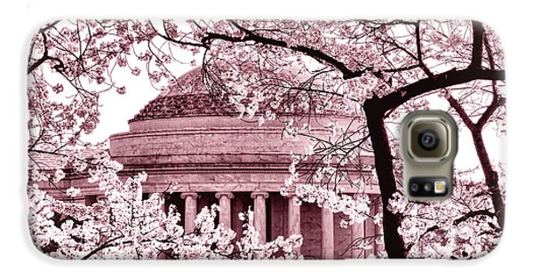 Pink Cherry Trees At The Jefferson Memorial Galaxy S6 Case by Olivier Le Queinec