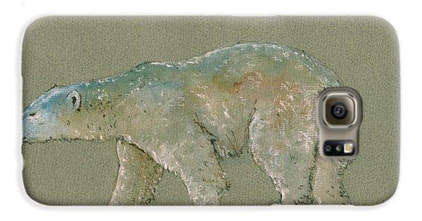 Polar Bear Original Watercolor Painting Art Galaxy S6 Case by Juan  Bosco