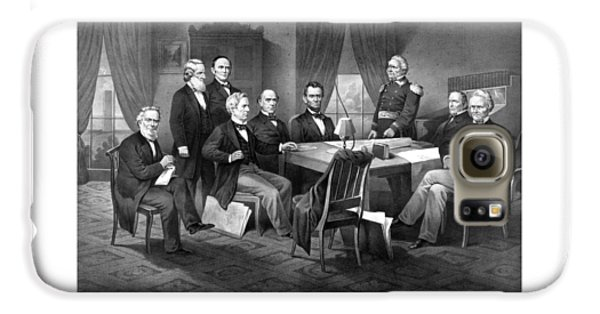 President Lincoln His Cabinet And General Scott Galaxy S6 Case by War Is Hell Store