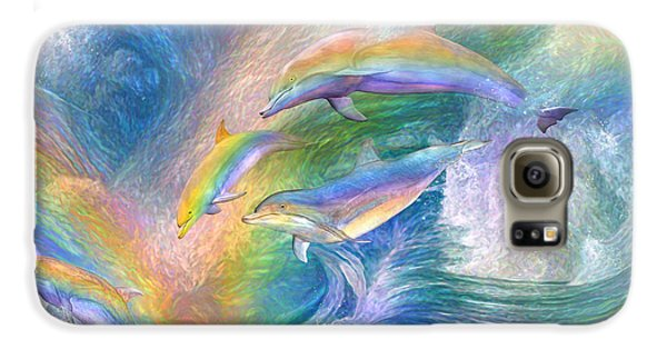 Rainbow Dolphins Galaxy S6 Case by Carol Cavalaris