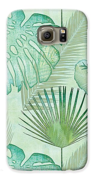 Rainforest Tropical - Elephant Ear And Fan Palm Leaves Repeat Pattern Galaxy S6 Case by Audrey Jeanne Roberts
