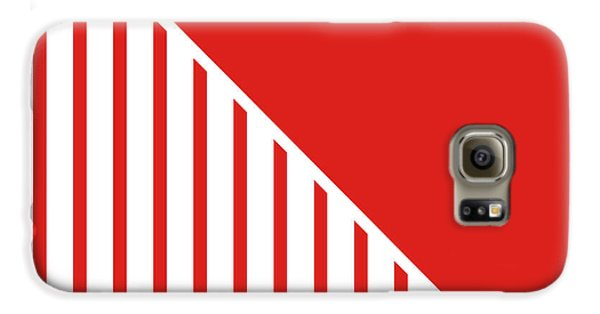 Red And White Triangles Galaxy S6 Case by Linda Woods