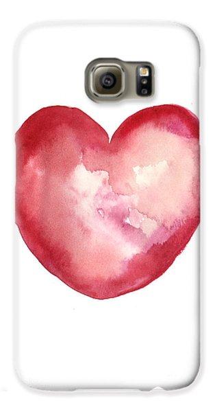 Red Heart Valentine's Day Gift Galaxy S6 Case by Joanna Szmerdt